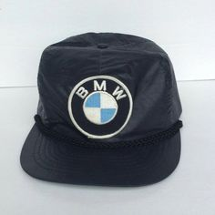 Vtg BMW Black Embroidered Logo Snapback Trucker Hat by Jhollas