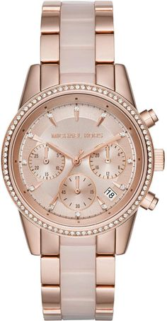 Michael Kors Women's Chronograph Ritz Blush Acetate and Rose Gold-Tone Stainless Steel Bracelet Watch First at Macy's - Michael Kors - Jewelry & Watches - Macy's Bijoux Michael Kors, Michael Kors Schmuck, Michael Kors Rose Gold, Michael Kors Watch, Rose Watch, Mini Mochila, Daniel Wellington, Stainless Steel Jewelry, Plaque