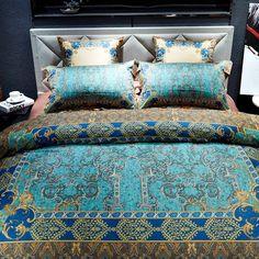 Luxury bedding set-duvet cover bed sheet pillowcase bedding royal satin bed linen,queen king size 100% Egyptian cotton bedding