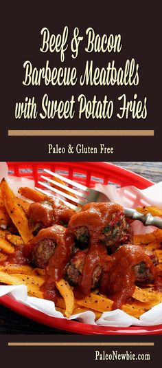 One especially for the boys – juicy beef meatballs packed with chopped bacon and smothered with BBQ sauce over sweet potato fries. Easy paleo bar food that rocks!