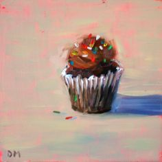 """""""One Love"""" Debbie Miller - Another little cupcake getting ready for the show.  Have to admit, I like this one.  Sometimes a painting just speaks to me, something is going on with this one that I just love."""""""