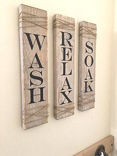 Rustic Bathroom Signs,SET OF THREE, Farmhouse Bathroom Decor, Wash Soak Relax Signs, Rustic Decor I like the style. could write anything! Rustic Bathroom Designs, Modern Farmhouse Bathroom, Rustic Bathroom Decor, Farmhouse Wall Decor, Rustic Bathrooms, Bathroom Signs, Rustic Decor, Bathroom Ideas, Bathroom Storage
