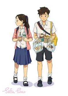นักวาดภาพการ์ตูนคนไทย ที่ถ่ายทอดชีวิตของวัยเรียนได้อย่างน่ารัก - เบาสมอง Thailand Art, R Colors, Cute Cafe, Thai Art, Female Character Design, Cute Disney Wallpaper, Thai Style, Anime Girl Cute, Anime Demon