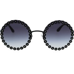 Dolce & Gabbana  Daisy Round Sunglasses (€550) ❤ liked on Polyvore featuring accessories, eyewear, sunglasses, glasses, dolce gabbana eyewear, round frame sunglasses, daisy sunglasses, dolce gabbana glasses and round sunglasses