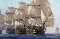 """The Heavyweight Punch* Geoff Hunt * HMS Victory, HMS Temeraire and HMS Neptune leading the line at Trafalgar on Hms Temeraire, Bateau Pirate, Old Sailing Ships, Sailing Boat, Hms Victory, Ship Of The Line, Ship Paintings, Man Of War, Naval History"