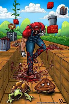 Well this is about as disturbing as it gets. Gives a whole new meaning to Super Smash Bros doesnt it? Super Killer Mario by Jeremiah Lambert Super Smash Bros, Super Mario Bros, Comic Art, Comic Books, More Wallpaper, Fan Art, Video Game Art, Totoro, Images