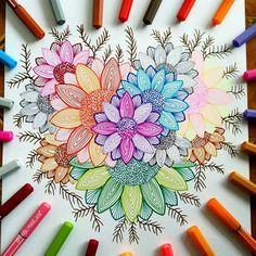 how to draw a zentangle Cool Art Drawings, Doodle Drawings, Colorful Drawings, Flower Art Drawing, Mandala Drawing, Dot Art Painting, Butterfly Painting, Dibujos Zentangle Art, Doodle Art Designs
