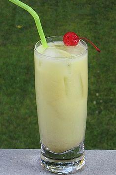Jamaican 10 Speed (1.5 oz. Malibu Coconut Rum .5 oz. Melon Liqueur .5 oz. Creme de Bananas Liqueur .5 oz Pineapple Rum 1 oz. Half & Half 3 oz. Pineapple Juice)