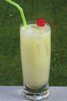 ☆ Jamaican 10 Speed:  1.5 oz. Malibu Coconut Rum,  .5 oz. Melon Liqueur,  .5 oz. Creme de Bananas Liqueur,  .5 oz Pineapple Rum,  1 oz. Half & Half,  3 oz. Pineapple Juice,  Cherry for garnish ☆