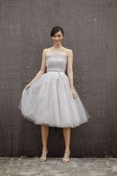 Bridal Look Trend Watch: Tantalizing Tulle:  Light Grey Tulle Wedding Skirt