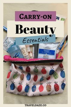 Find out what beauty, makeup, and toiletry products I keep in my personal item while flying. These are my carry-on beauty essentials while traveling. Travel Makeup Essentials, Carry On Essentials, Beauty Essentials, Travel Beauty Routine, Beauty Routines, Beauty Hacks, Carry On Makeup, Carmex Lip Balm, Travel Hairstyles