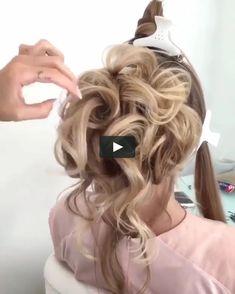Hairstyle with a bun for the evening Easy Updo Hairstyles, Pretty Hairstyles, Wedding Hairstyles, Front Hair Styles, Medium Hair Styles, Bridesmaid Hair Medium Length, Hair Movie, Bridesmaid Hair Tutorial, Hair Upstyles
