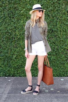 stripe tshirt, utility jacket, panama hat, brown tote, white boyfriend shorts, black espadrilles