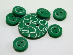 Green Shamrock Buttons Polymer Clay Handmade set by EmbellishClay, $6.50