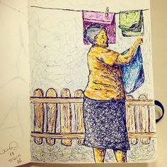 Desenho inspirado em fotografia de Anderson dos Santos, feito com Stabilo Point 88 - de Melissa Oliveira - 2016