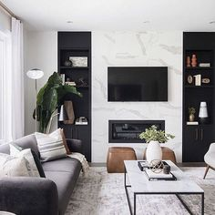 neutral modern living room with marble fireplace, black and white living room decor, Leclair Decor ( Living Room Modern, Home Living Room, Interior Design Living Room, Black Sofa Living Room Decor, Modern Room Decor, Cozy Living, Black Living Rooms, Living Room White Walls, Cool Living Room Ideas