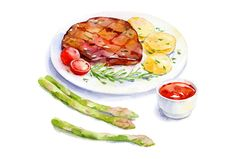 steak watercolour art by Natalia Tyulkina