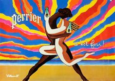 Perrier Le Couple Dansant translates to 'The dancing couple' and what a beautiful couple they are. This advertising poster for Perrier was created by iconic French graphic artist Bernard Villemot in Posters Vintage, Vintage Advertising Posters, Vintage Art Prints, Vintage Advertisements, Vintage Ads, Vintage Travel, Poster Art, Retro Poster, Kunst Poster