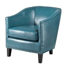 Madison Park Fremont Shaped Barrel Armchair In Peacock - The Madison Park Fremont Shaped Barrel Armchair maximizes sitting space in your living room. Features graceful curves, silver nailhead trim, and luxuriously soft faux leather upholstery. Furniture Legs, Accent Furniture, Barrel Furniture, Green Furniture, Funky Furniture, Furniture Outlet, Online Furniture, Furniture Design, Living Room Chairs