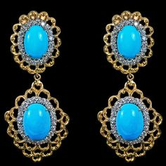Turquoise and Diamond Earrings set in 18K Gold. - House of Kahn