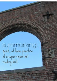 summarizing: at-home practice of a super-important reading skill | #literacy #reading #weteach