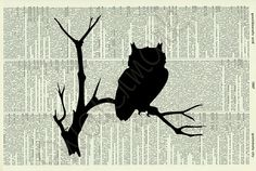 ON SALE FREE P - Vintage Dictionary Page Print - Owl In Tree Silhouette - No.90D  - Buy 2 and Get 1 Free - Dictionary Art Print - Upcycle. £4.41, via Etsy.