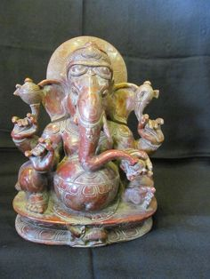Vintage Look Solid Stone Hindu Tribal God Lord Ganesh Design Statue Figure 2336