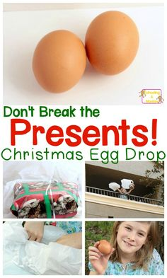 """Find out why packing presents is important in these fun Christmas-themed STEM enrichment activities where kids try not to break egg """"presents."""""""