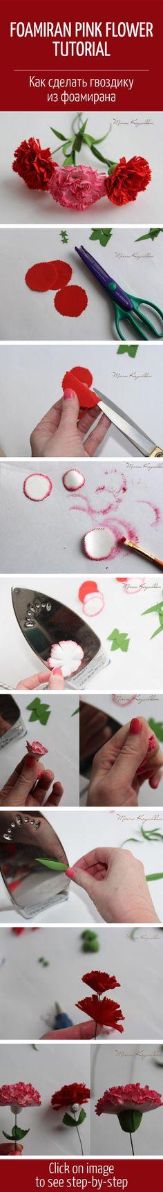 Foamiran Pink Flower Tutorial / Лепим цветок гвоздики из фоамирана How To Make Paper Flowers, Tissue Paper Flowers, Fabric Flowers, Hand Flowers, Clay Flowers, Foam Flower, Paper Flower Tutorial, Foam Crafts, Origami