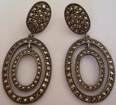 Stunning Judith Jack Signed Sterling Silver Marcasite Oval Shaped Earrings | eBay