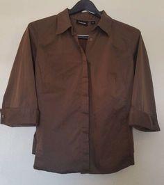 gorgeous AVENUE size 18/20 brown shirt 3/4 sleeves, button down, good condition #Avenue #ButtonDownShirt