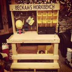 Ryan wants Santa to bring him a workbench to keep all his tools organized, he must be my kid! always seeking good Workbenches Remain to the product at the picture web link. Kids Workbench, Woodworking Workbench, Woodworking Crafts, Folding Workbench, Garage Workbench, Garage Tools, Kids Garage, Industrial Workbench, Workbench Designs