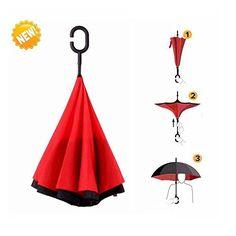 Travel Umbrella Strong Waterproof/Uv protection, Sunny or rainy amphibious, C shape handle Double Layer Inverted Umbrella