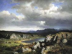 Hans Gude Norwegian Mountains (Norsk Hoyfjell), National Gallery of Norway, Oslo Western Landscape, Landscape Art, Landscape Paintings, Hudson River School, Nordic Art, Art Society, Traditional Paintings, Fantasy Inspiration, Cool Landscapes