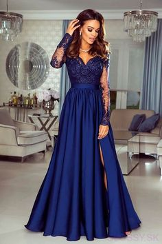 Navy Blue Prom Dress Long, Prom Dresses Long With Sleeves, A Line Prom Dresses, Lace Evening Dresses, Grad Dresses, Bridesmaid Dresses, 1950s Dresses, Blue Gown, Black Prom Dresses