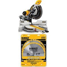 """DEWALT DWS779 12"""" Sliding Compound Miter Saw and 80 Tooth and 32T ATB Thin Kerf 12-inch Crosscutting Miter Saw Blade, 2 Pack"""