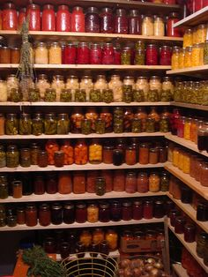 look at that pantry with those beautiful shelves. i really need to find someone to make those