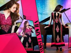 Ethnically designed Party wear Straight cut Black and Pink Georgette Salwar suit with Beautiful thread and Stone work and Karachi Laces on the hemline and Sleeves. Matching Santoon Bottom and Chiffon Duppatta included.