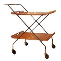Rare Iron, Maple and Brass Tea Wagon (1954) | Designer: Milo Baughman