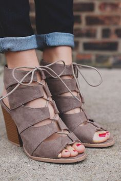 Taupe Gladiator Style Caged Peep Toe Heel | UOIonline.com: Women's Clothing Boutique #sandalsheelschunky