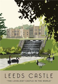 """""""The Loveliest Castle in the World"""". A beautiful illustration of the wonderful Leeds Castle, Kent, England Posters Uk, Railway Posters, Poster Ads, Illustrations And Posters, Places To Travel, Places To Visit, Leeds Castle, British Travel, Tourism Poster"""