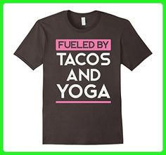 Mens Fueled by Tacos and Yoga Funny Fitness Workout Food Tee 2XL Asphalt - Workout shirts (*Amazon Partner-Link)