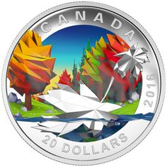 2016 $20 Fine Silver Coin - Geometry in Art: Maple Leaf
