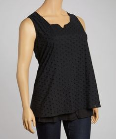 Another great find on #zulily! Black Eyelet Sleeveless Top - Plus #zulilyfinds