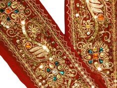 Modest Sanskriti Vintage Saffron Sari Border Hand Embroidered Indian Craft Trim Lace Crafts Sewing