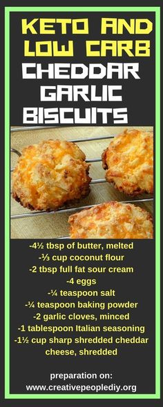 Low Carb Meals Delicious Keto and Low Carb Cheddar Garlic Biscuits - Savory keto cheat recipes that look and taste like they're stuffed with carbs. Clever keto-friendly ingredients make them even tastier than the originals. Ketogenic Recipes, Paleo Recipes, Low Carb Recipes, Cooking Recipes, Ketogenic Diet, Coconut Flour Recipes Low Carb, Turkey Recipes, Easy Recipes, Pescatarian Recipes