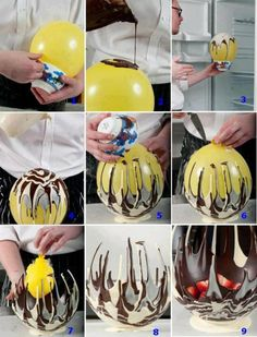How to make a chocolate bowl using a balloon. Great idea for parties, but don't leave this bowl in the heat!