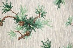 1940's Vintage Wallpaper - Brown Pine Cones on Green Pine Needle Branches with Gray Background - Winter Evergreen Botanical Leaves Pinecones