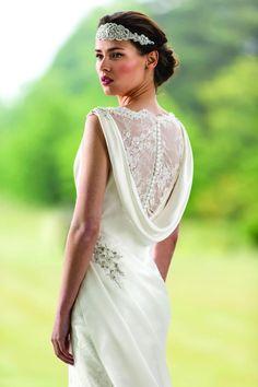 Cowl back. True Bride collection wedding dress
