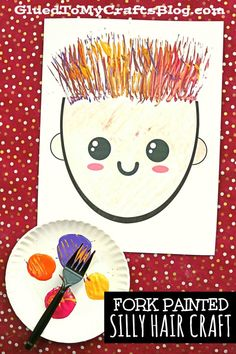 A plastic fork becomes your NEW paint brush with this SILLY HAIR paper craft idea for kids! Come score the free file to recreate it today! School Age Activities, Art Activities For Toddlers, Painting Activities, Infant Activities, Summer Crafts For Toddlers, Diy For Kids, Fork Art, Leather Bracelets, Leather Cuffs